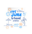 travel concept thin line flat design vector image vector image