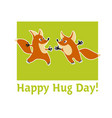 two cute fox animal mascot hugging vector image vector image