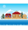 Village beside river in winter vector image