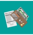 wallet with money and receipt vector image vector image
