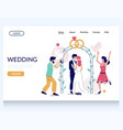 wedding website landing page design vector image