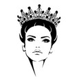 woman in crown queen black and white silhouette vector image vector image