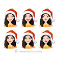 women in santa hat with different emotions vector image