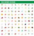 100 wine icons set cartoon style vector image