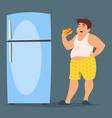happy fat man character eating hamburger vector image