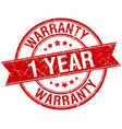 1 year warranty grunge retro red stamp vector image vector image