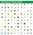 100 world tour icons set cartoon style vector image vector image