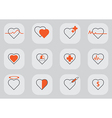12 Heart icon black orange vector image vector image