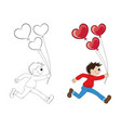 a cartoon boy running with balloons in the form vector image vector image