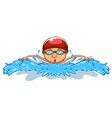 A simple drawing of a man swimming vector image