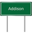 addison alabama usa road sign green vector image vector image