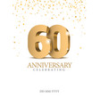 anniversary 60 gold 3d numbers vector image vector image