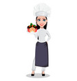 beautiful baker woman in professional uniform vector image vector image