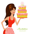 beautiful woman with birthday cake for your design vector image