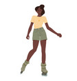 black girls ride on roller skates african young vector image vector image