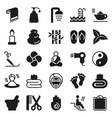 black simple web icon set - spa beauty vector image vector image