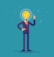 businessman with light bulb instead of his head vector image vector image