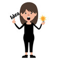 cartoon woman with an idea on white background vector image