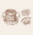 cocoa beans and chocolate grains and bag vintage vector image vector image
