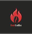 coffee bean with fire flame hot coffee logo vector image