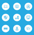 computer icons line style set with folder vector image