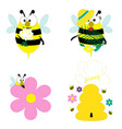 cute bees collection eps 10 vector image vector image