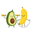 cute happy smiling banana and avocado vector image vector image