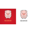 cute pig on red and white background chinese new vector image