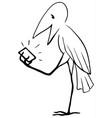 device bird cartoon line drawing vector image vector image