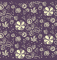 doodle floral pattern with white flowers on purple vector image vector image