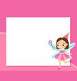 fairy frame design template for photos children vector image vector image