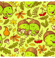 Fall season seamless pattern with smiling acorn vector image