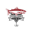 fishing emblem with salmon design element for vector image vector image