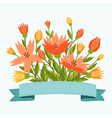 Flowers with ribbon vector image vector image