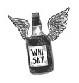 Flying whiskey bottle with wings sketch
