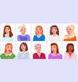 girls portraits to waist with different hairstyles vector image vector image