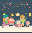 happy kids celebrating saint martins day vector image vector image