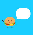 happy smilling cute burger with speech bubble vector image