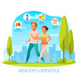 healthy lifestyle cartoon composition vector image