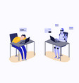 human and robot working at laptop desk - tired man vector image vector image