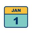 january 1st date on a single day calendar