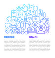 medicine health line template vector image