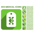 Morgue Tag Icon and Medical Longshadow Icon Set vector image