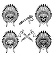 native indian chief skull with crossed tomahawks vector image