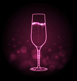 neon sign of champage glass on pink background vector image