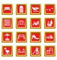playground equipment icons set red square vector image vector image