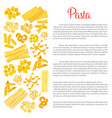poster of pasta for italian cuisine vector image vector image