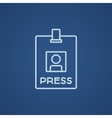 Press pass ID card line icon vector image vector image