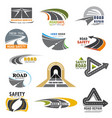 road icons building and construction company vector image vector image