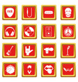 rock music icons set red vector image vector image
